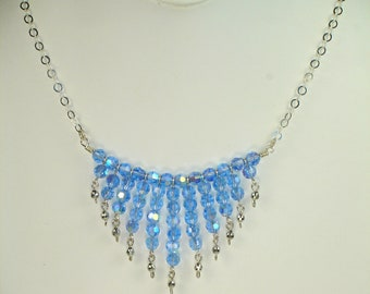 Indulgence, handmade, all sterling silver, Czech blue ab crystal and sterling, round, mirror cut beaded necklace