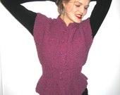 BASIA DESIGNS Classic Peplum Vest in Fuschia  and Pink mix yarns