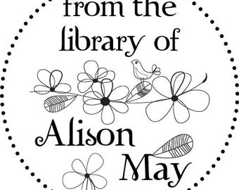 Bird on branch with Flowers -From the Library of - Custom Rubber Stamp - book plate