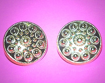 Vintage 2 Gold Plated Metalicized Beaded 23MM Buttons H1R 11