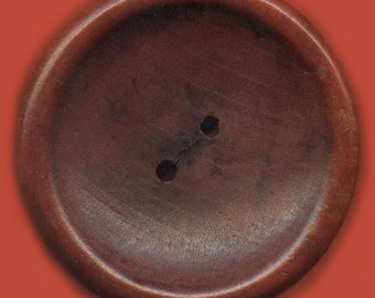 Vintage English Chestnut Stained Carved Wood Button 41.75mm GR3