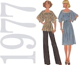 1970s Vintage Pattern - Misses Dress, Top and Pants - 48 to 50 Bust Womens Dress Sewing Pattern - Simplicity 7868 - Uncut, FF