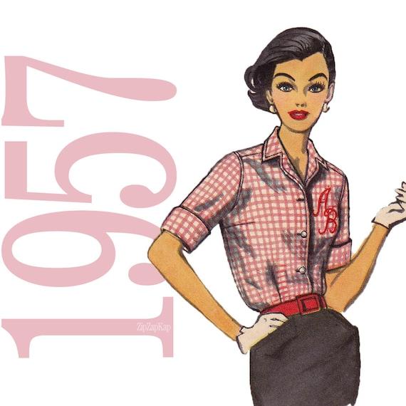 50s Blouse Vintage Pattern - B36 - Simplicity 2195 - Rockabilly Monogram Shirt Sewing Pattern