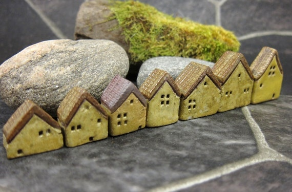 Yellow Lane...Rustic Miniature Houses for Moss Tearriums or Pot Gardens
