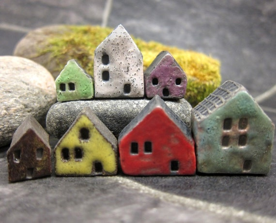Lucky nr 7...Rustic Miniature Houses for Moss Terrariums or Pot Gardens