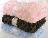 Luxe Rose Swirl Minky Baby Blanket, Choose Your Colors