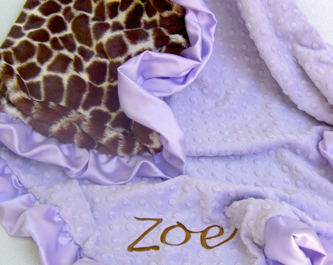 Lavender and Giraffe Minky Blanket Can Be Personalized