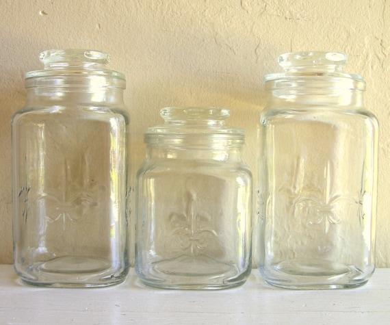 3 Clear Glass Jars With Lids Fleur De Lis Motif Paris