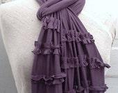 Ruffled Purple Scarf , Raw Edged And Romantic