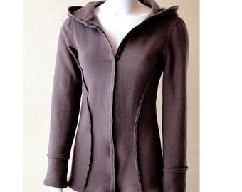 Hooded jacket with snaps, organic cotton, more colors