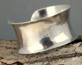 Sterling Bracelet Cuff - Anticlastic Wide Sterling Cuff - Hammer Forged Cuff
