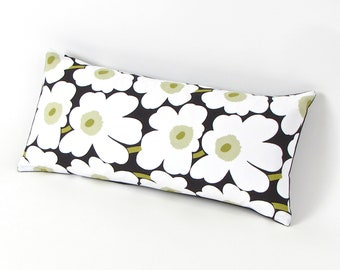 Marimekko Poppy Pillow in Black and White 8 by 17 inch