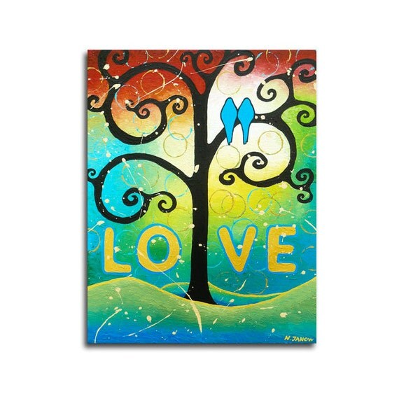 Folk Art Acrylic Painting - Abstract Landscape Whimsical Tree of Life Art - Love Birds Romantic Art 11x14