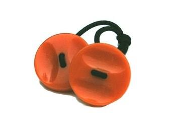 Tangerine Ponytail Tie,  Vintage Orange Buttons, Retro Hair Accessory