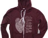 Unisex Anatomical HEART Fleece Zip Hoody - American apparel XS S M L XL