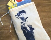 "GIFT BAG / 8x11"" OTTER (in a Fedora) - Hand Printed Drawstring Reusable Cotton Bag"