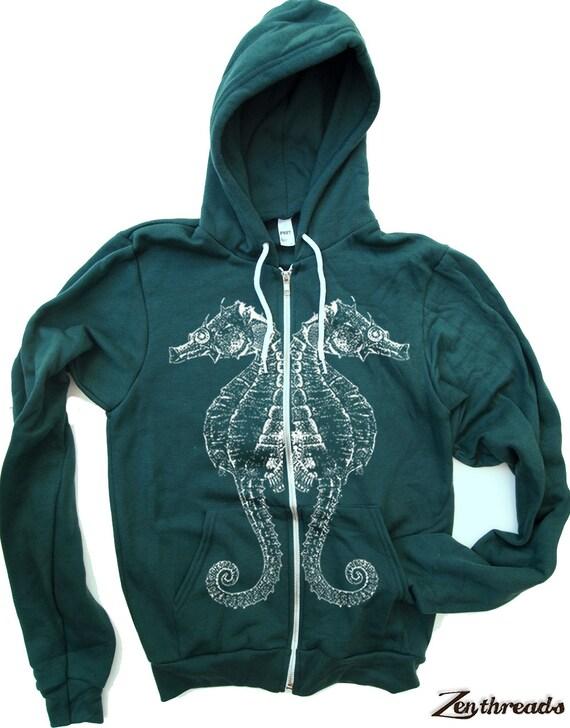 Unisex SEAHORSE Flex Fleece Hoody - American apparel all sizes XS S M L XL (4 Color Options)