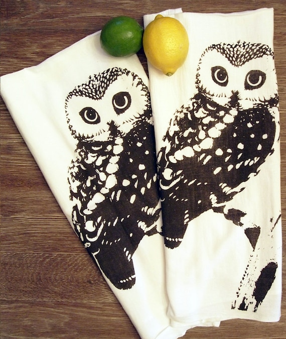 Set of 2 Towels -  OWL Flour Sack Kitchen  Dish - Renewable Natural Cotton (Red or Brown ink Options)