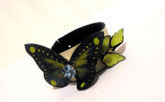 Butterfly leather bracelet with swarovsky crystal Statement jewelry