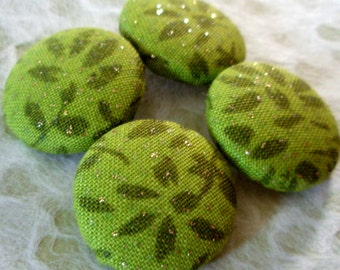 Buttons - Green Glittery Leaves Fabric-Covered Buttons - You Choose the Size - Gold Glitter Leaf Fabric Buttons - Covered Buttons