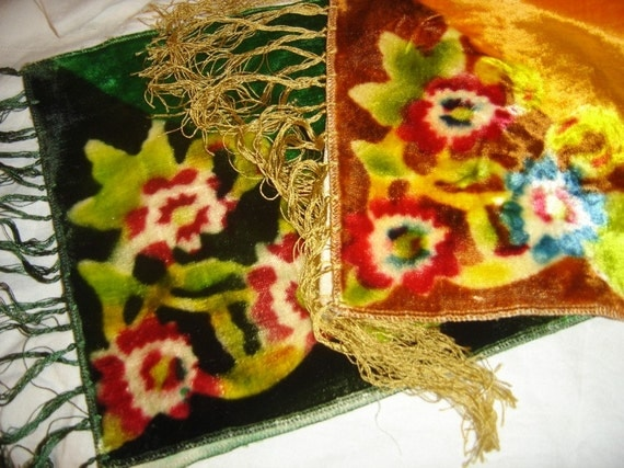 Gorgeous Velvet Floral Table Runners Art Deco Arts and Crafts 1930s