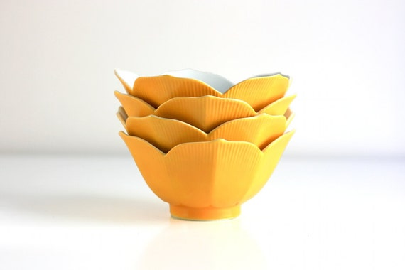 Vintage Yellow Lotus Bowls