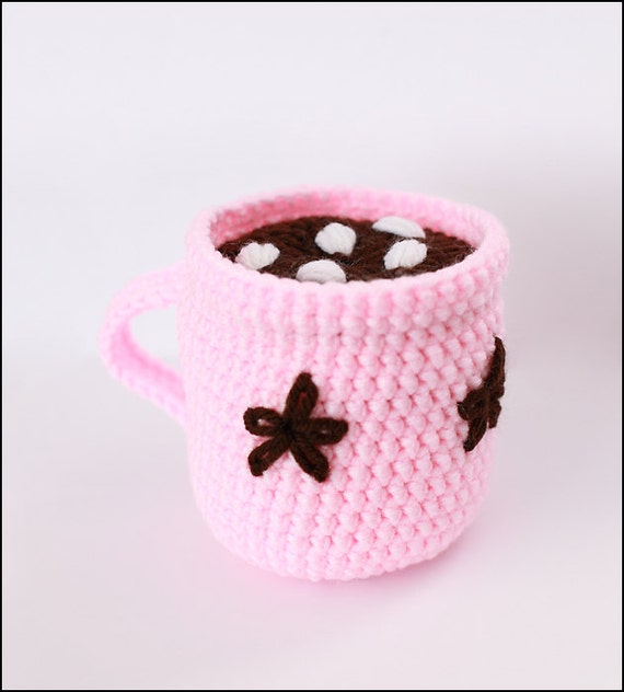 Items similar to Crochet Cocoa play food Amigurumi hot ...