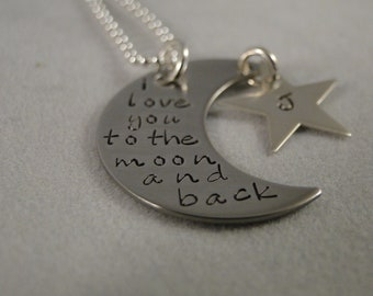 I love you to the moon and back Necklace hand stamped name charm personalized