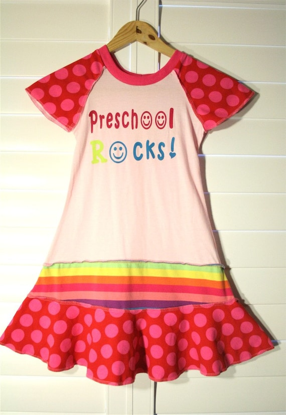 PRESCHOOL ROCKS....hand silk screened.. recycled upcycled repurposed pieced tshirt dress/tunic size 6
