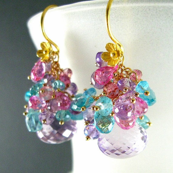 Pink Amethyst, Apatite and Pink Topaz Gold Filled Earrings