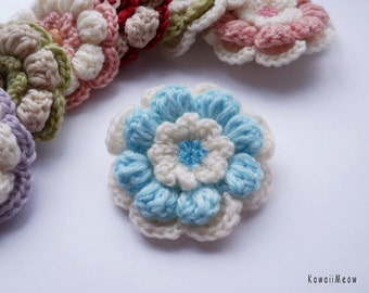 Kawaii Flower Corsage Brooch White x Blue