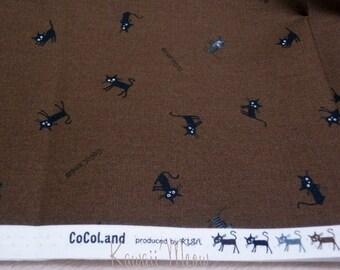 """SALE / Scrap / CoCoLand - Black Cats on Brown - 110cm/43""""W x 54cm/21""""L  (11no1227)"""