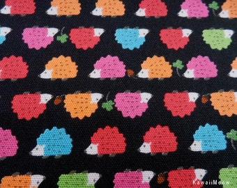 Kawaii Japanese Fabric - Baby Hedgehog on Black x Colorful - Half Yard (i130620)