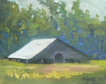 "Barn Landscape, Rural Painting, landscape painting, impressionist art, 6x8 OOAK Painting, ""Oconoluftee Barn"""