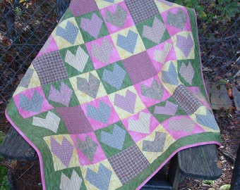 Pink, Green and Yellow Plaid Hearts Lap Baby Quilt