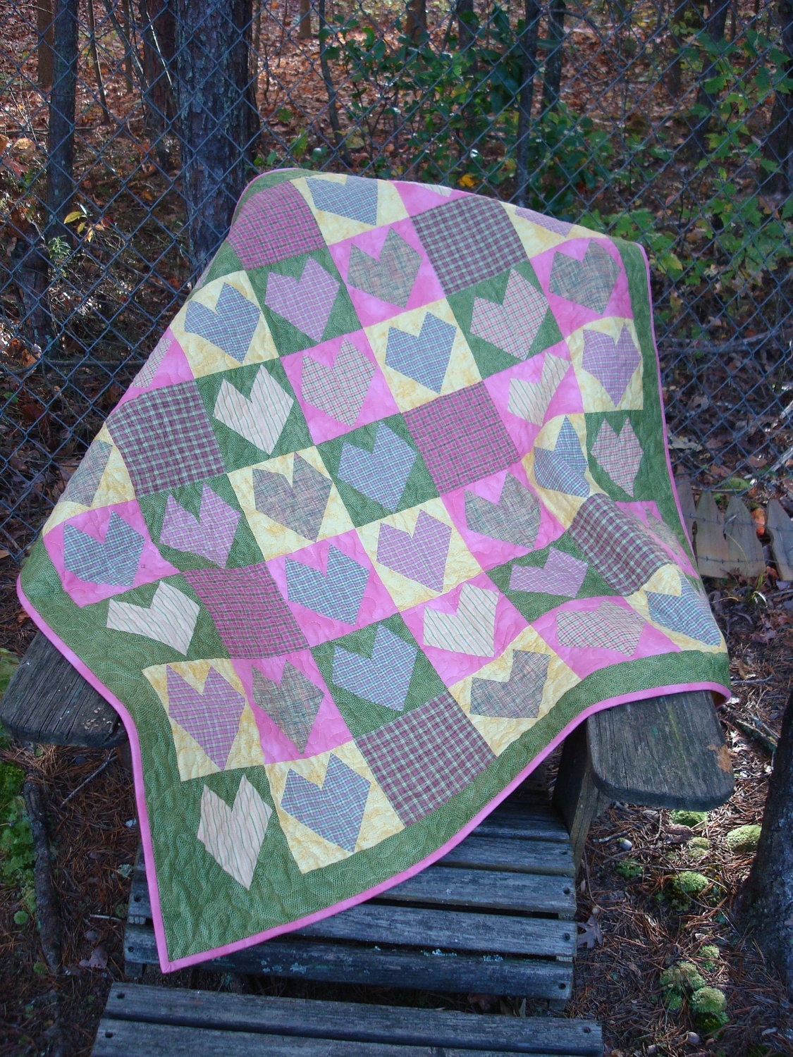 Plaid Baby Quilt: Pink Green And Yellow Plaid Hearts Lap Quilt Baby Quilt