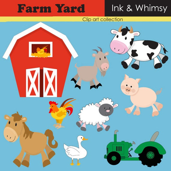 Clipart Farm Instant Download Clip Art Barn By Inkandwhimsy2