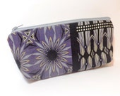 Medium Cotton Zipper  Pouch Clutch Toiletry Bag Grey and Black Medallion Print - handjstarcreations