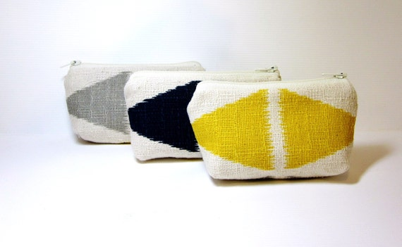 Cotton Zipper Small Pouch Set Change Purse Bridesmaids Gifts  - Diamonds in Yellow, Blue and Grey