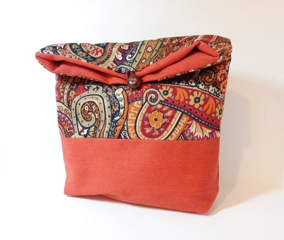 Fold Over Clutch Cotton Pouch Cosmetic Bag  Paisley Swirl