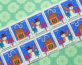 Vintage Christmas Seals 1963 Vintage Paper Ephemera Snowman