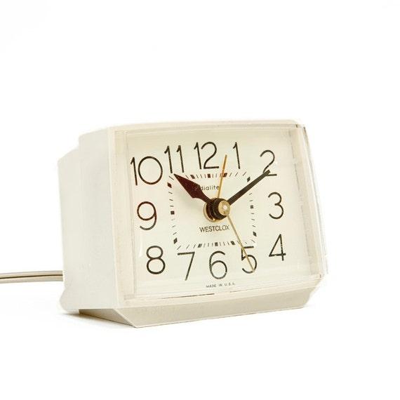 Vintage Cream Westclox Alarm Clock