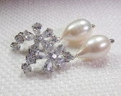 Wedding Earrings Bridesmaid Pearl Dangle Earrings Pave CZ Diamond Look Wire Wrapped