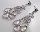 Wedding Chandelier Earrings Lavender Mystic Quartz Wire Wrapped Post Diamond Pave Look Lavender Bridal Chandelier Earrings