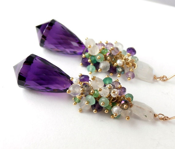 Amethyst Pointer Earrings Gold Filled Green Quartz Moonstone Wire Wrapped Cluster