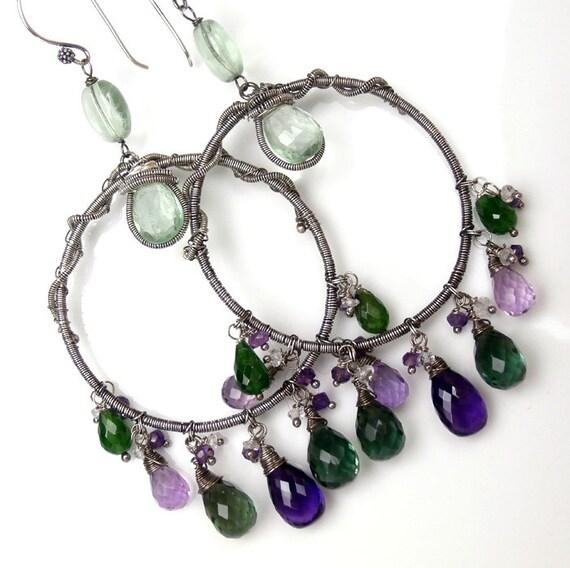 RESERVED - Amethyst Large Chandelier Earrings Hoop Earrings Wire Wrapped Coiled Wire  Sterling Silver Amethyst Green Purple Gemstone