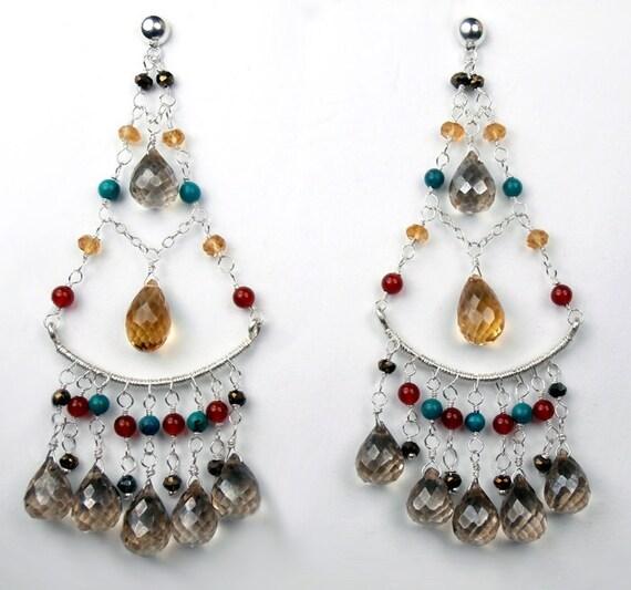 SALE  Multicolor Chandelier Earrings Wire Wrapped Gemstones Sterling Silver Handmade Statement  Earrings