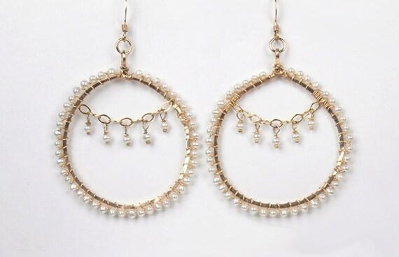 Wire Wrapped Hoop Earrings, 14kt Gold Filled, Pearl Wire Wrap, Chain Dangle Earrings, Summer Fashion