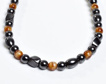 Brown and Black Magnetite Necklace - Shades Of Tan Magnetic Theapy for Men and Women