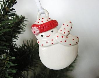 Snow Girl Ornament in Polka Dots